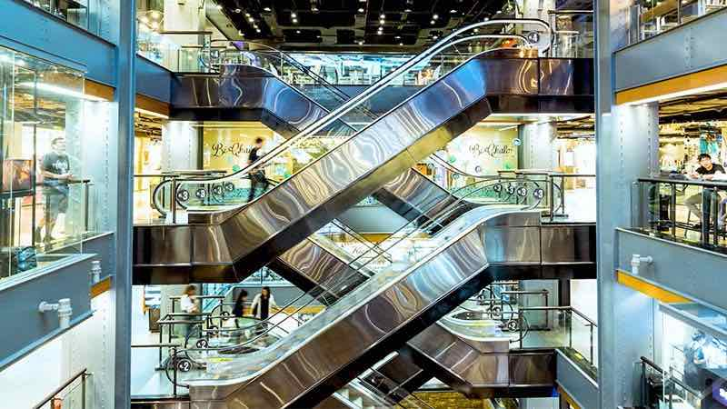 Elevators inside a mall.