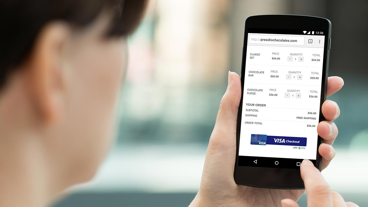 Online shopping on a mobile phone using Visa Checkout.